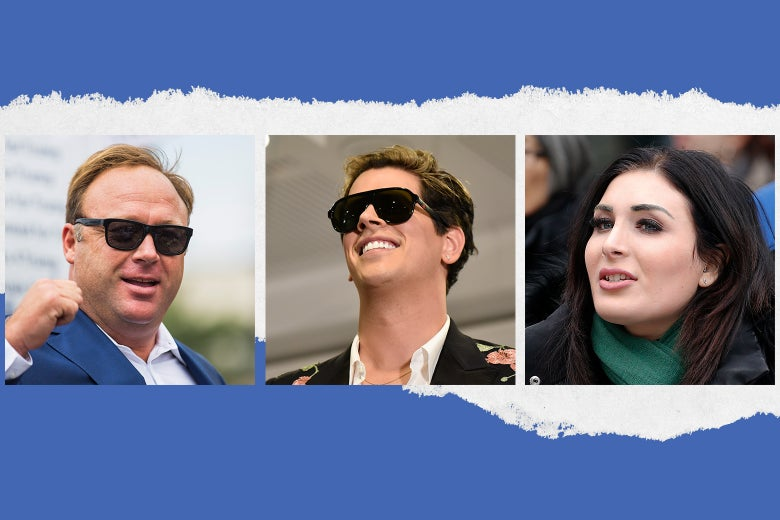 Alex Jones, Milo Yiannopoulos, and Laura Loomer.