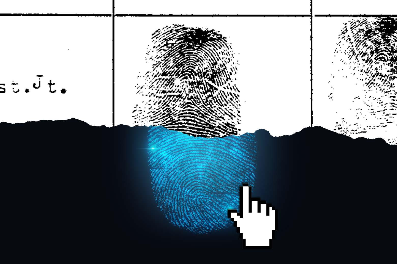 Photo illustration of a fingerprint on paper and ink and a digital fingerprint