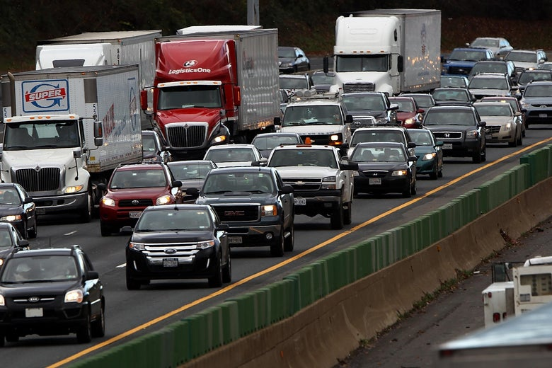 MCLEAN, VIRGINIA - NOVEMBER 23:  Traffic converges on highway I-495 South just west of the nation's capital on one of the busiest travel days of the year November 23, 2011 in McLean, Virginia. The American Automobile Association projects that 42.5 million people are likely to drive, fly, or take the train to their Thanksgiving gatherings, the largest number since the beginning of the recession.  (Photo by Win McNamee/Getty Images)