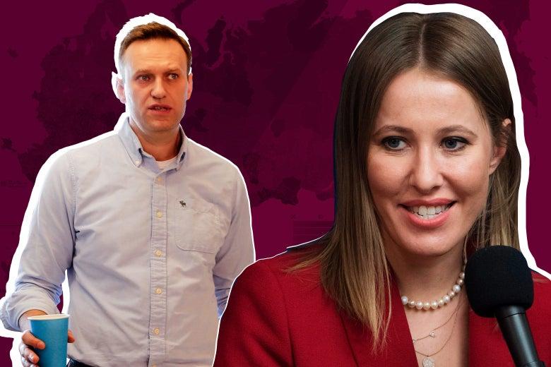 Alexei Navalny and Ksenia Sobchak.