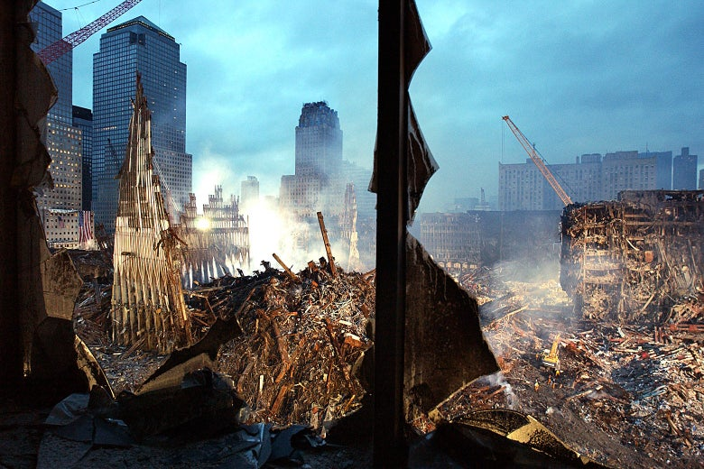 Wreckage of the World Trade Center after Sept. 11.