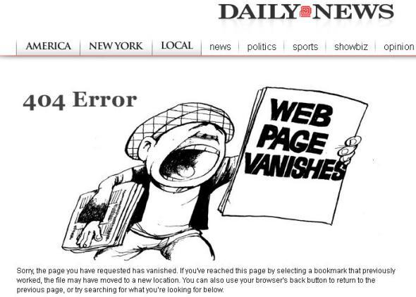 New York Daily News 404 error page