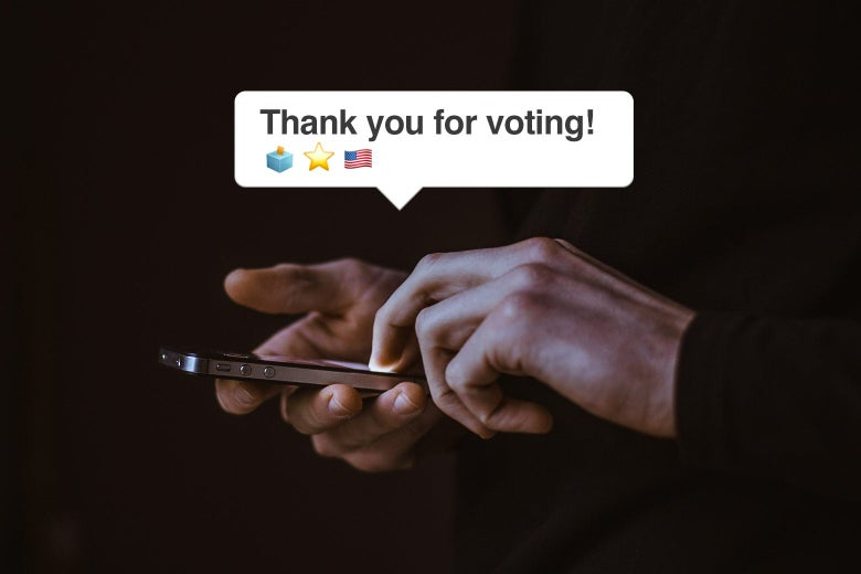"""Two hands hold a phone, with a text bubble that says """"Thank you for voting!"""" followed by ballot box, star, and U.S. flag emojis."""