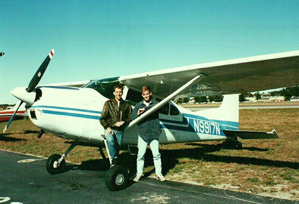 Mark Vanhoenacker (right) with a friend and early flying instruc