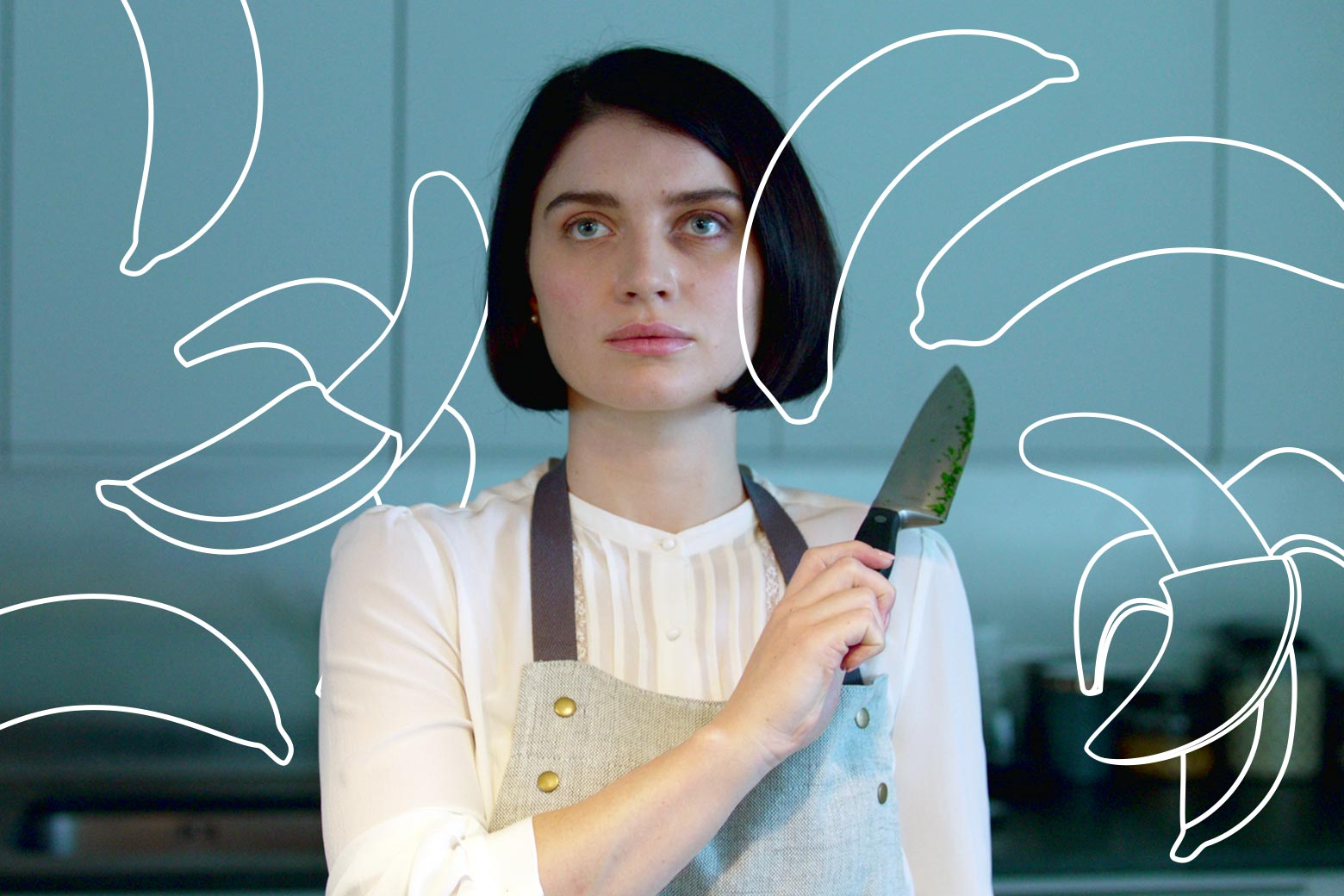 A woman stares blankly, a chef's knife in the air, illustrations of half-sliced bananas floating around her.