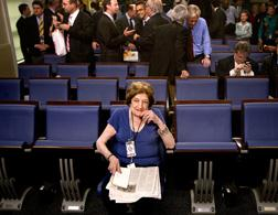 Helen Thomas in the Brady Briefing Room. Click image to expan.d