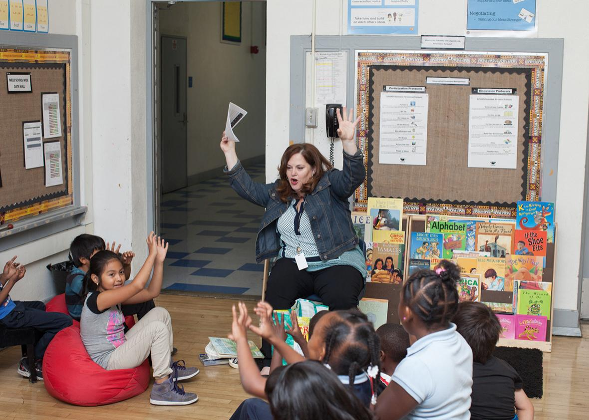 Davis reading to her second-grade students.