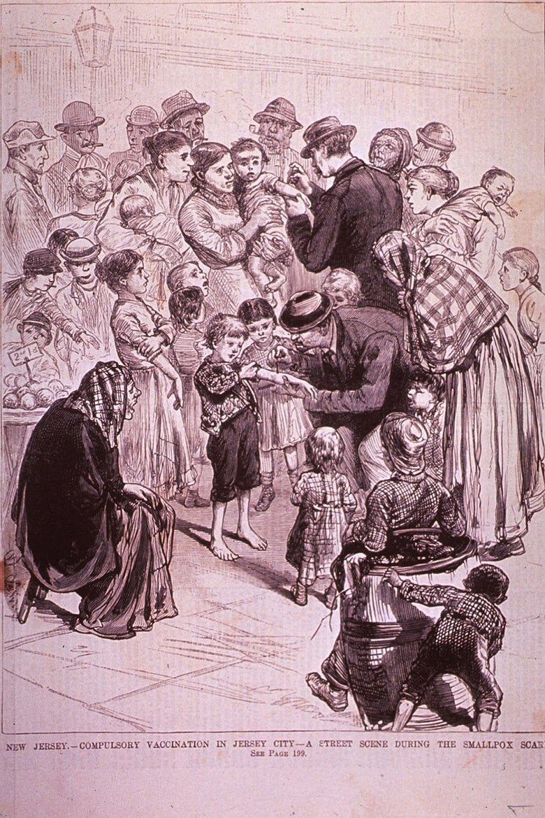 A drawing of a boy being vaccinated on a city street as people look on.