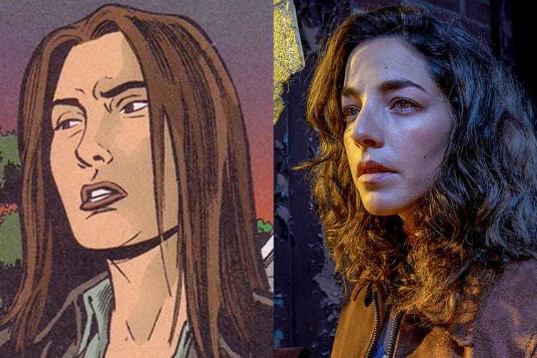 Side-by-side images of Hero Brown in the comic and Olivia Thirlby as Hero Brown in the TV show