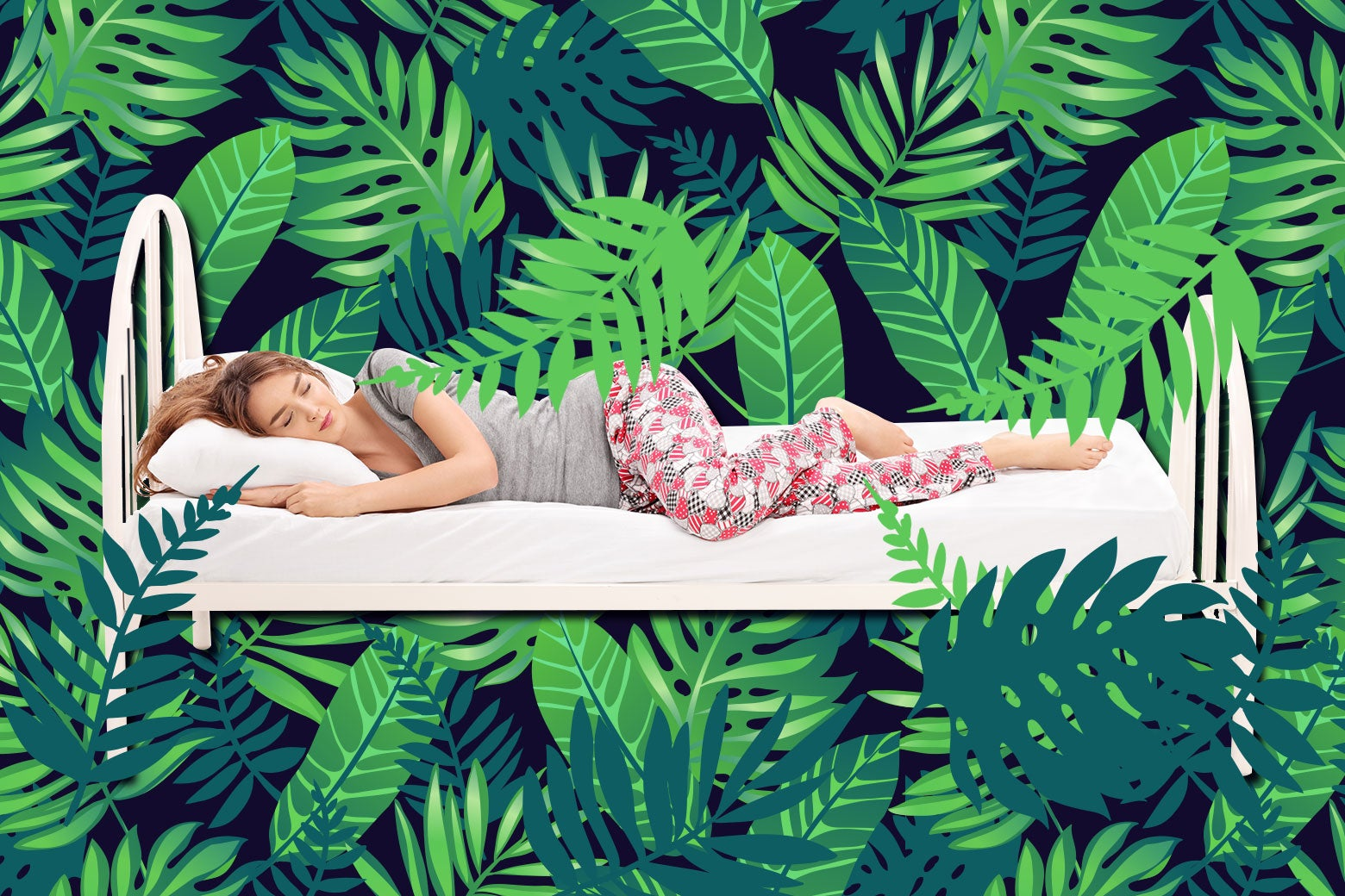 Woman sleeping in her bed in the jungle.