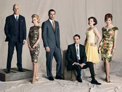 """""""Mad Men"""" Cast (left to right), Roger Sterling (John Slattery), Betty Draper (January Jones), Don Draper (Jon Hamm), Pete Campbell (Vincent Kartheiser), Peggy Olson (Elisabeth Moss), and Joan."""
