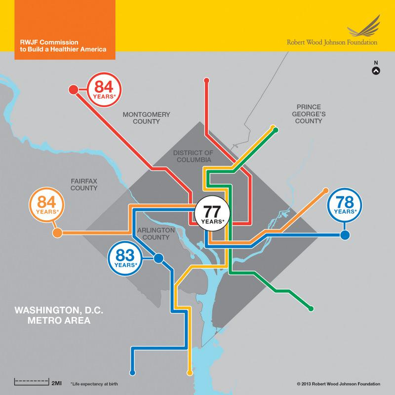 Life expectancy in the Washington, D.C., area.