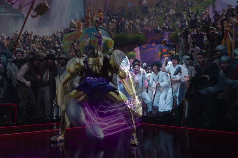 A shot from Space Jam: A New Legacy showing Cronos, a gold robot, dribbling on a basketball court. In the crowd, cheering, are three characters from A Clockwork Orange.
