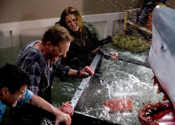 Ian Ziering and Cassie Scerbo in Sharknado