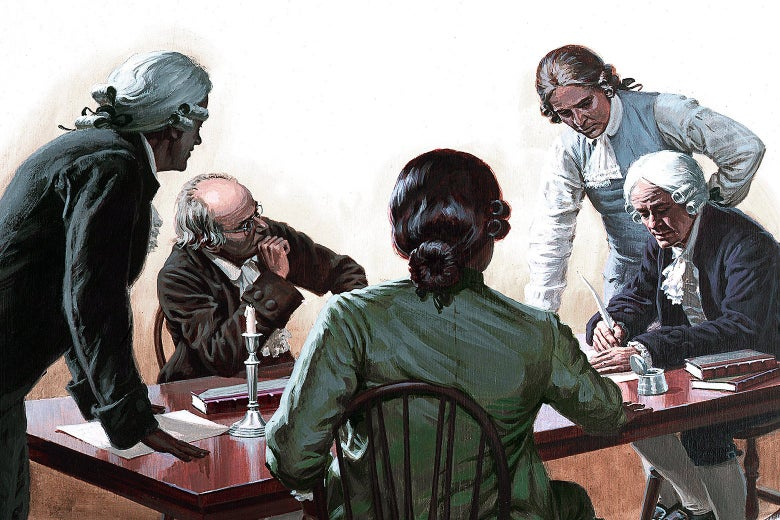 A painting depicting a group of Founding Fathers signing a document at a table during the American Revolution circa 1776.