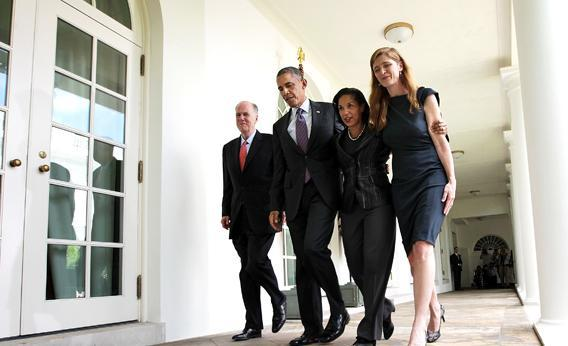 President Obama has nominated Susan Rice (third from the left), to succeed Tom Donilon (left) as national security adviser. Samantha Power (right) will take over Rice's job as U.N. ambassador.