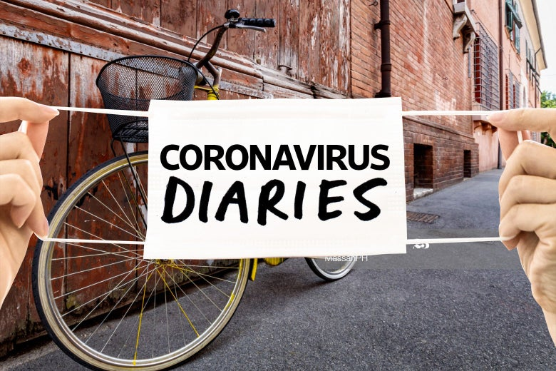 A bike against a wall in Italy, with a Coronavirus Diaries logo over it.