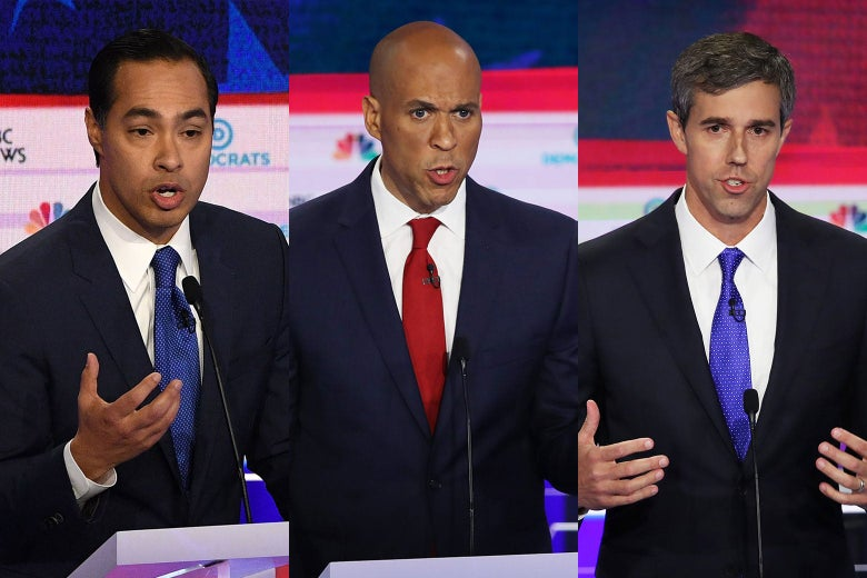 Julián Castro, Cory Booker, and Beto O'Rourke.