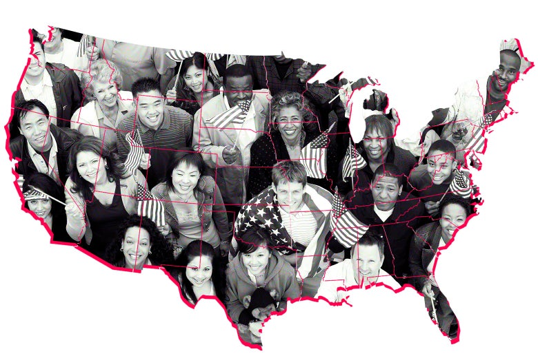 People holding American flags inside the outline of the contiguous United States.