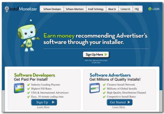 Screenshot InstallMonetizer.com.