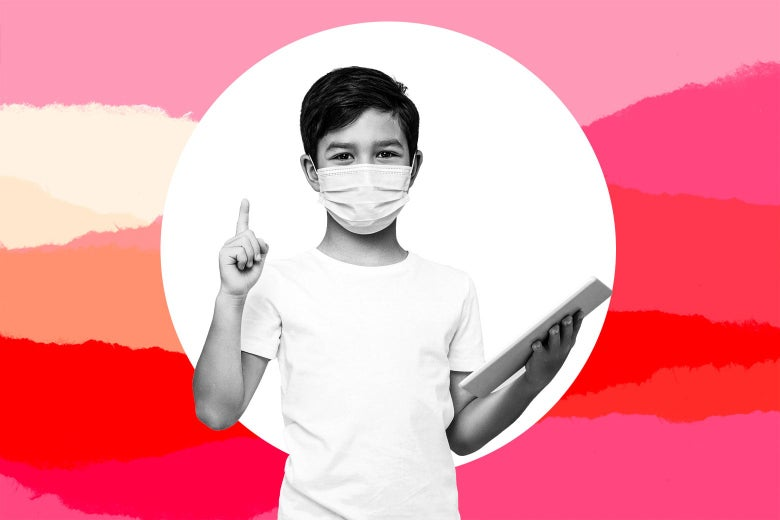 Boy with a mask on, holding a tablet in one hand and holding up one finger in the other, as if about to say something.