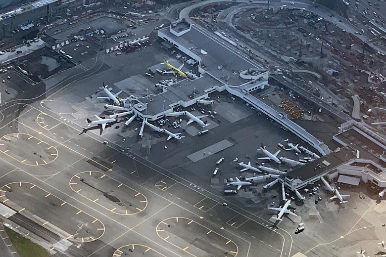 NEW YORK, NEW YORK - NOVEMBER 10:  An aerial view of Laguardia Airport as photographed on November 10, 2018 in New York City. (Photo by Bruce Bennett/Getty Images)