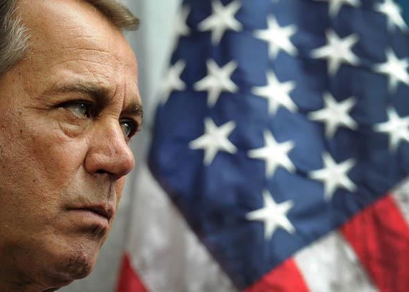 House Speaker John Boehner (R-OH) listens to others form the GOP leadership during a media availability following a Republican Conference.