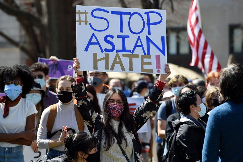 People gather at a rally to demand safety and protection of Asian communities on March 21, 2021 in Washington, D.C.