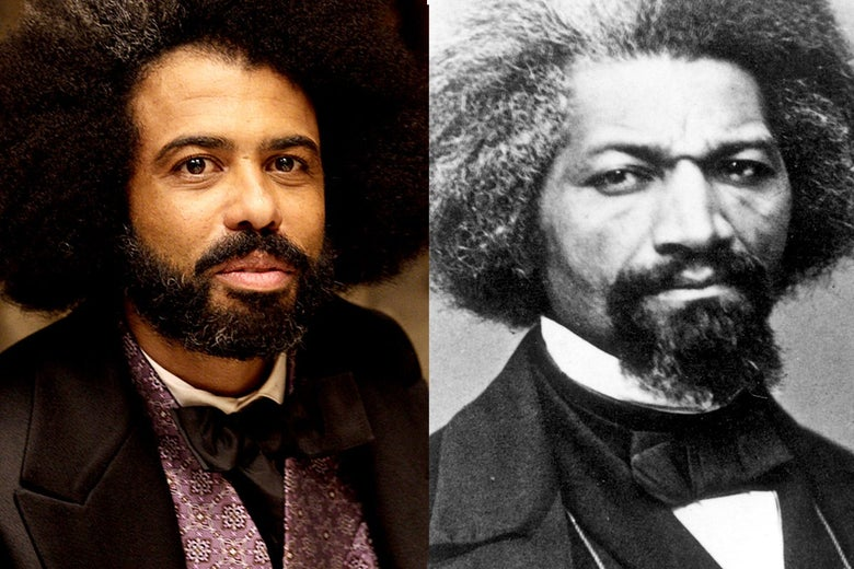 Side-by-side photos of Diggs and Douglass with large combed-out hairdos with a streak of white, neatly groomed facial hair, and suits with bow ties.