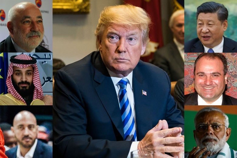 Headshots of the various individuals arrayed around a picture of Trump.