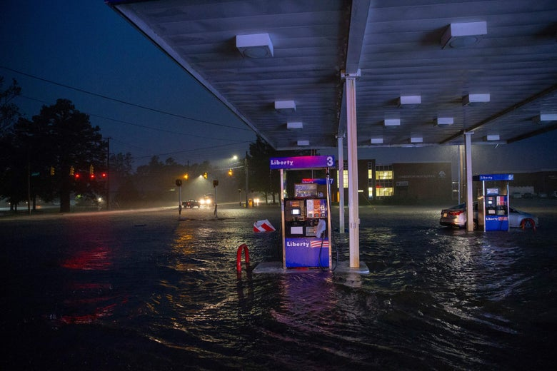 Rising floodwaters overtake a gas station in Lumberton, North Carolina, in the wake of Hurricane Florence.