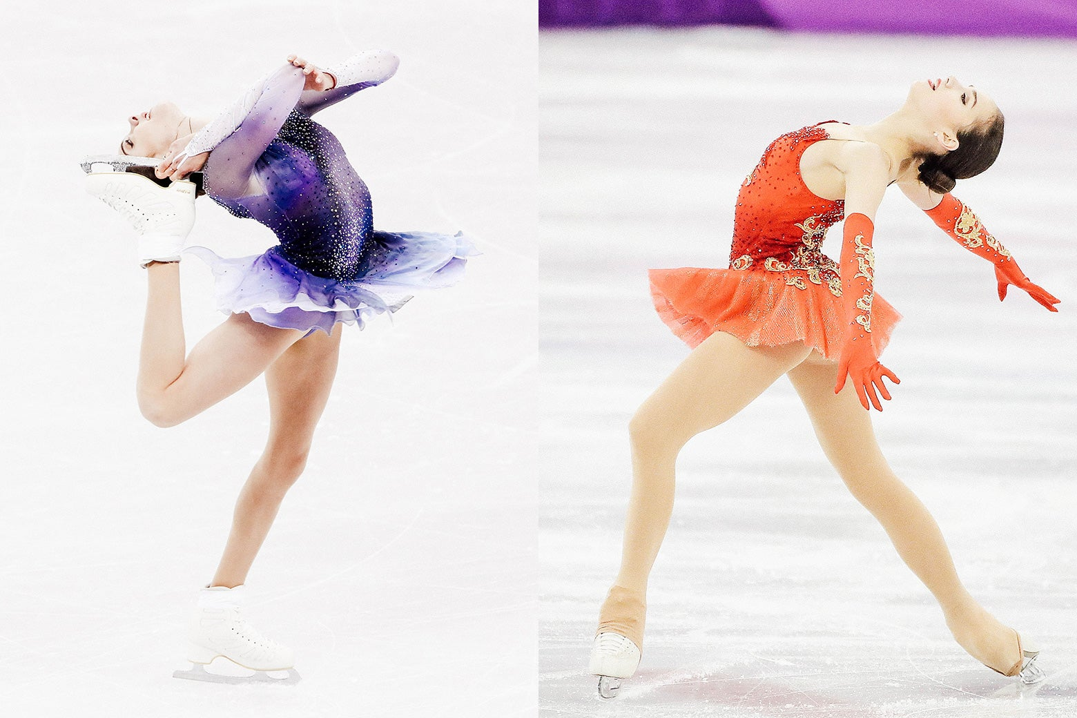 Side-by-side: Olympic skaters Evgenia Medvedeva and Alina Zagitova compete at the Pyeongchang Olympics.