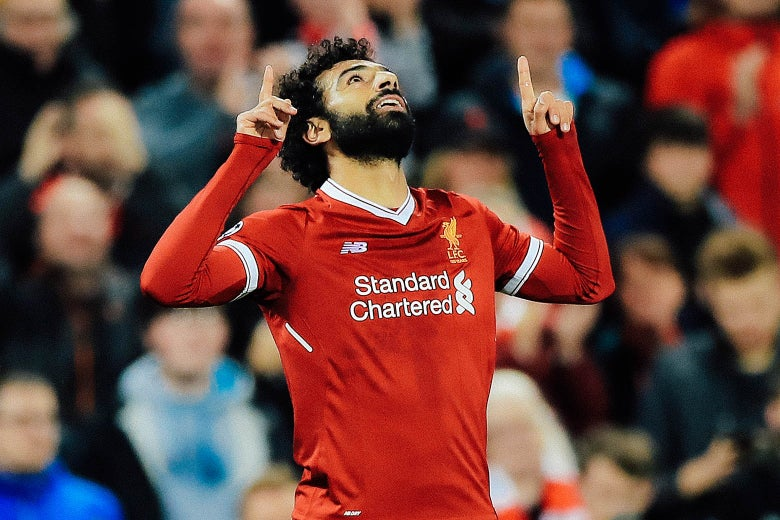 0eb61514cd6 Liverpool's Mohamed Salah celebrates scoring his side's second goal of the  game during the Champions League