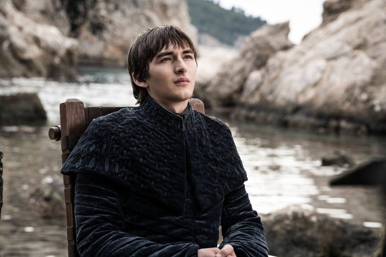 Bran wears all black near the harbor of King's Landing.