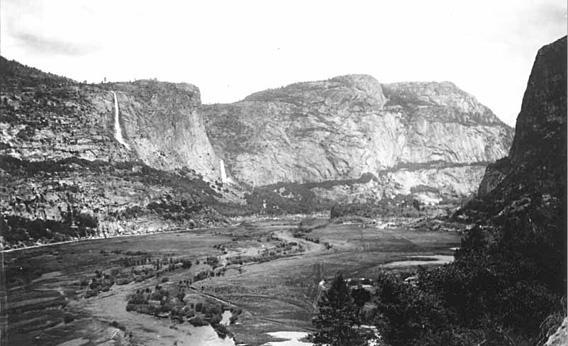 Hetch Hetchy Valley as it appeared before it was transformed into a reservoir, in Yosemite National Park, California
