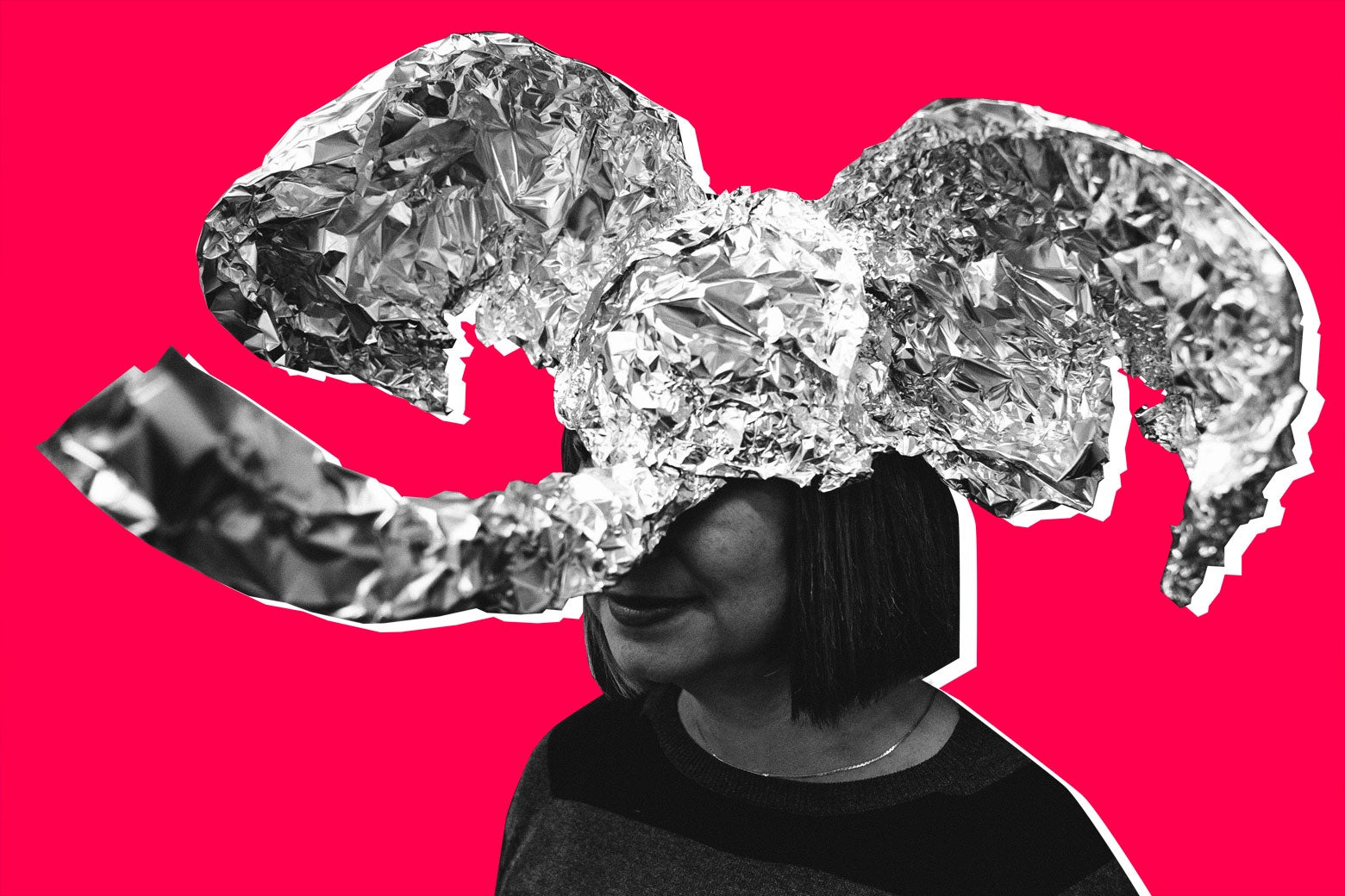 A GOP elephant hat made of tinfoil on a woman who looks very conservative.