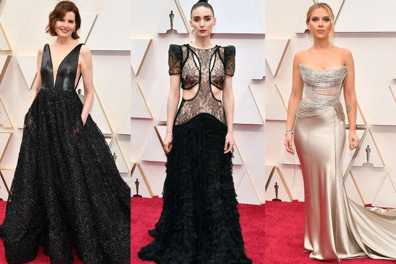 Collage of Geena Davis, Rooney Mara, and Scarlett Johansson on the red carpet at the Oscars.