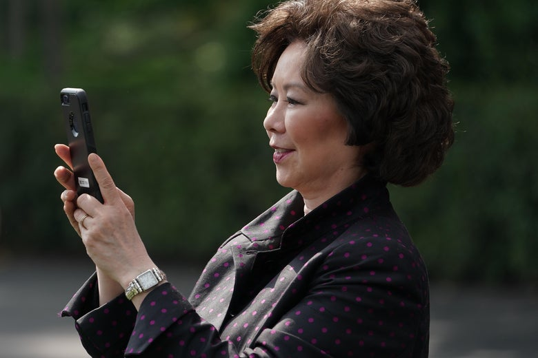 Transportation Secretary Elaine Chao participates in a celebration of 2018 Monster Energy NASCAR Cup Series Champion Joey Logano on the South Lawn of the White House April 30, 2019 in Washington, D.C.