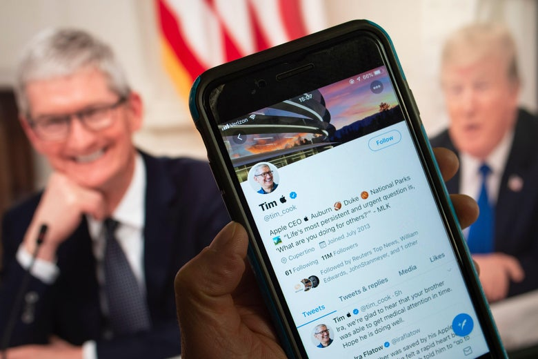This March 7, 2019 photo illustration in Washington, DC shows the Twitter feed of Apple chief executive Tim Cook, who turned into 'Tim Apple' on social media Thursday, March 7, 2019 after a slip-up by US President Donald Trump sparked a viral moment on Twitter. - The Twittersphere reacted after a Wednesday, March 6, 2019 White House meeting where the US president thanked 'Tim Apple' for the tech giant's investments and job creations. Cook changed his Twitter handle the following morning, using the Apple icon and his first name to get in on the fun. Some Twitter users offered other suggestions for the president including Bill Microsoft (Gates), Elon Tesla (Musk) and even George America (Washington). (Photo by STRINGER / AFP)        (Photo credit should read STRINGER/AFP/Getty Images)