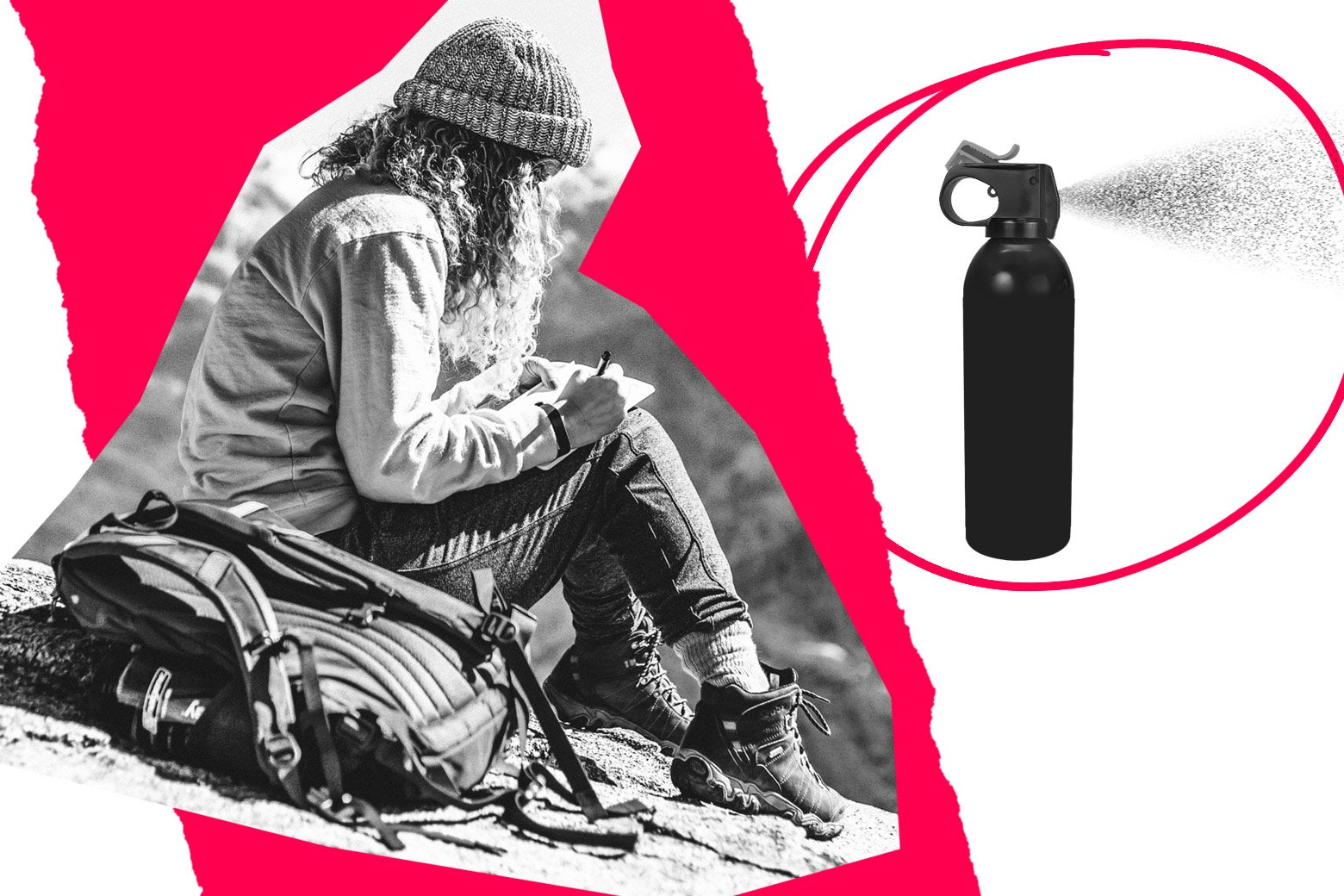 Collage of hiker and pepper spray.