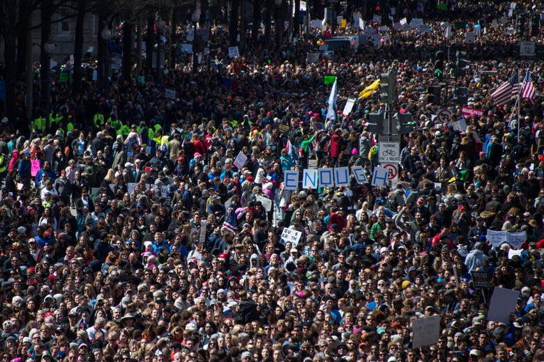 People gather during the March for Our Lives Rally in Washington, DC on March 24, 2018.