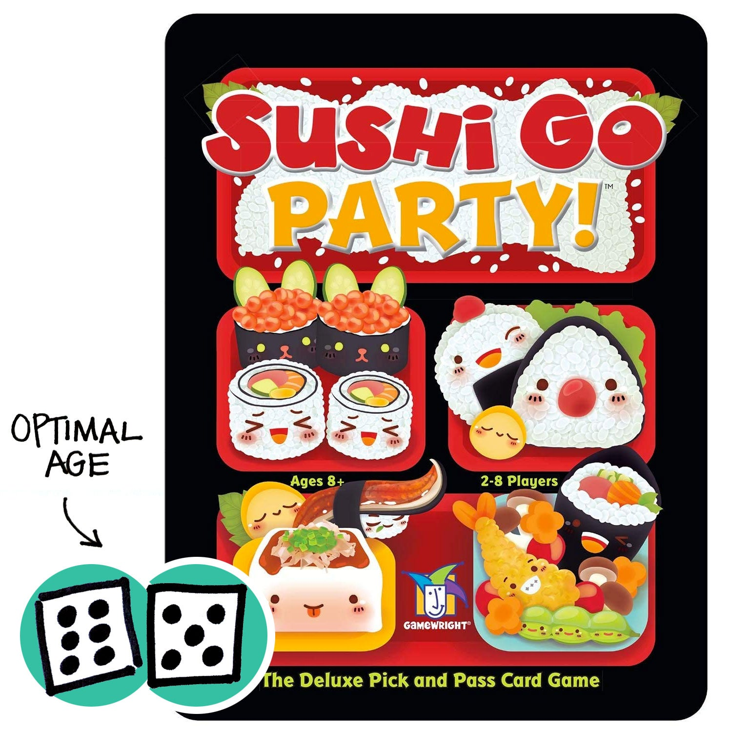 Sushi Go Party! with dice showing optimal age