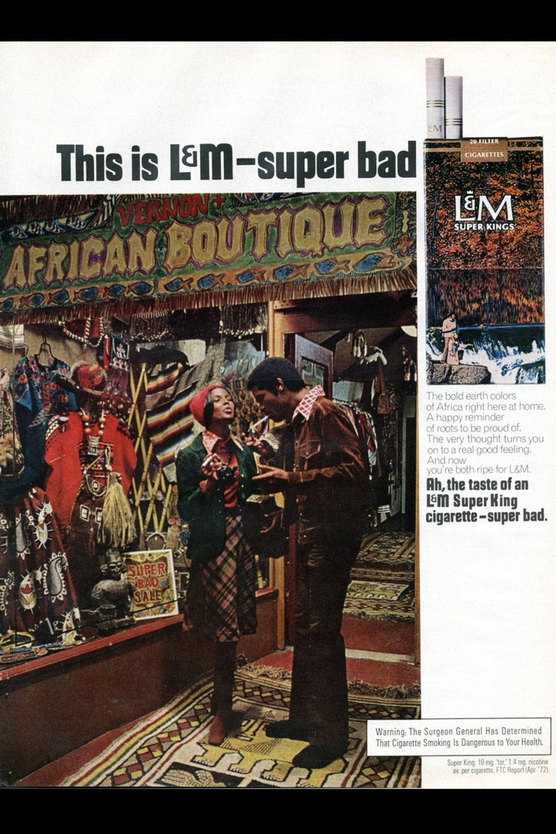 An ad for L&M Super Kings cigarettes depicting a Black couple in front of a African boutique.