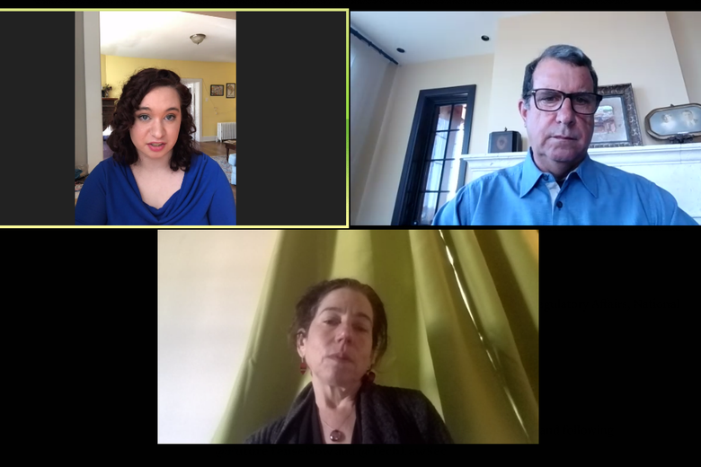 Two women and a man on a video conference platform