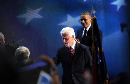President Barack Obama, right, and former president Bill Clinton.