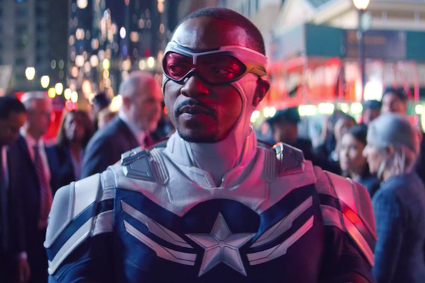 Sam Wilson wearing his new Captain America suit in a still from the show