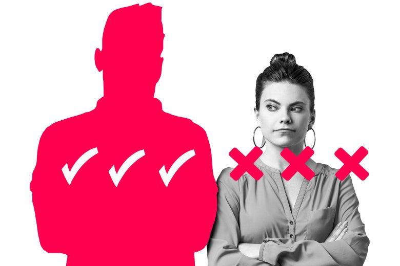 A silhouette of a man with three checkmarks over his chest, and a woman who has three X marks over her chest.