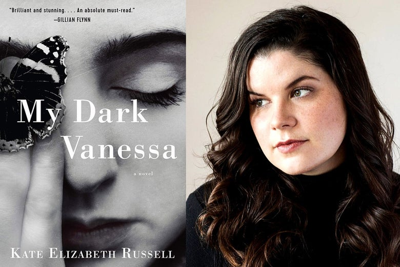 Left: the cover of My Dark Vanessa. Right: Kate Elizabeth Russell.