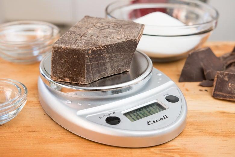 chocolate on the Escali Primo Digital Scale