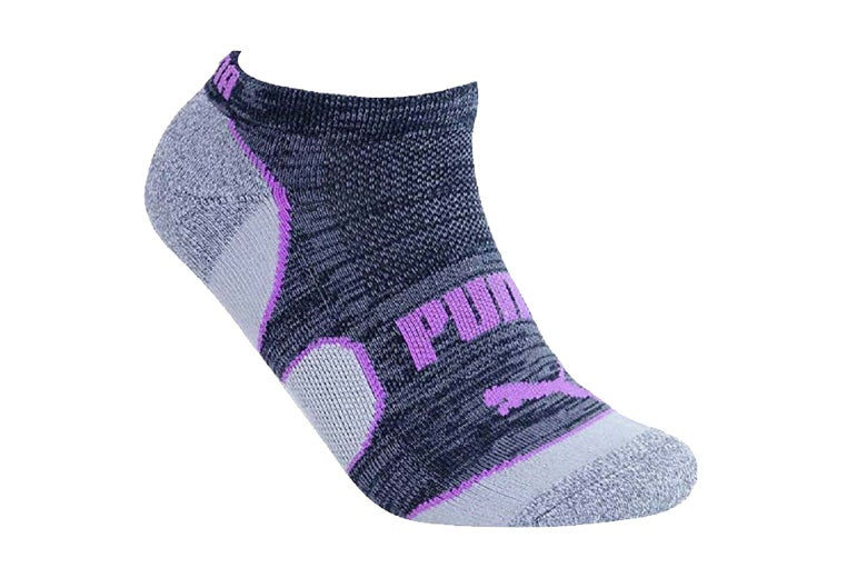 Gray socks with purple trim.